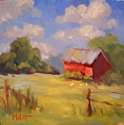 Barn Chickens Rooster Farm original oil painting a day