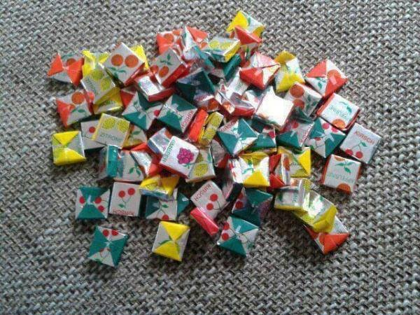 Fruit toffees, I always kept the cherry ones for last - they were the softest.