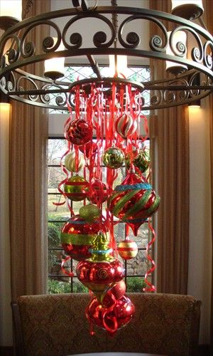 Table Centerpiece: Holiday, Decorating Idea, Dining Room, Christmas Decorations, Light Fixture, Christmas Chandelier, Christmas Ideas, Christmas Ornament