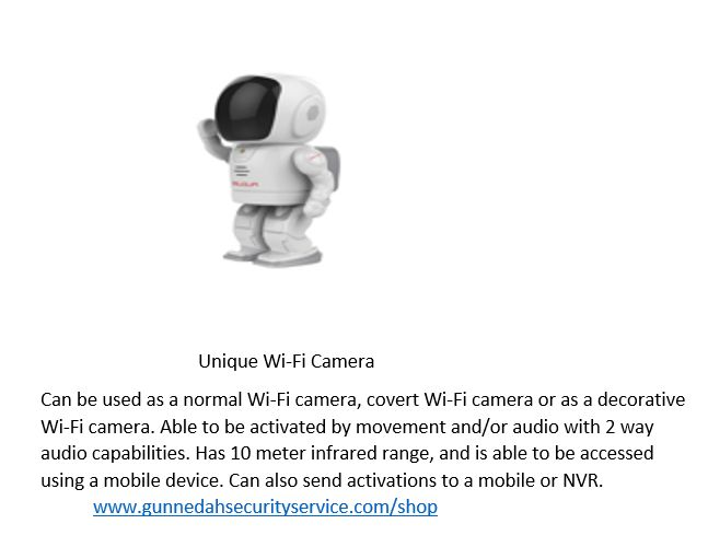 Wi-Fi camera that has infrared and audio capabilities. Can be used as a decorative or covert Wi-Fi camera with audio. easy to set up and use Just Plug and Play.