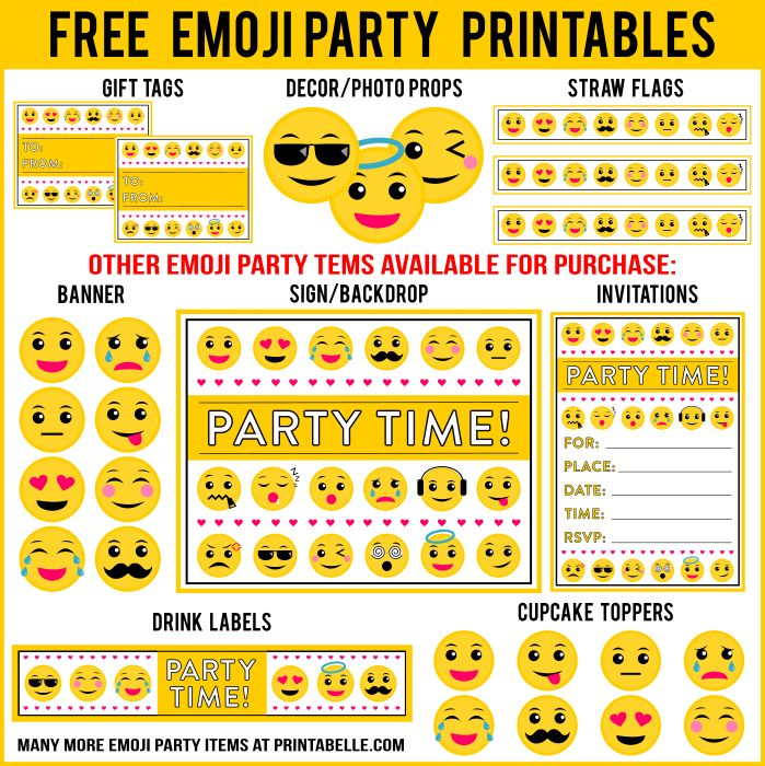 Free emoji printables and more!   Additional items can be added below.   For Personal Use Only. Do not modify, change, redistribute or sell.