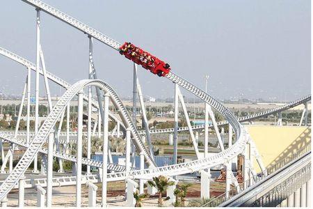 Forumla Rossa: The fastest Roller Coaster in the WORLD! 150 MPH Launch Roller Coaster. Located at Ferrari World Theme Park in Abu Dhabi, United Arab Emirates