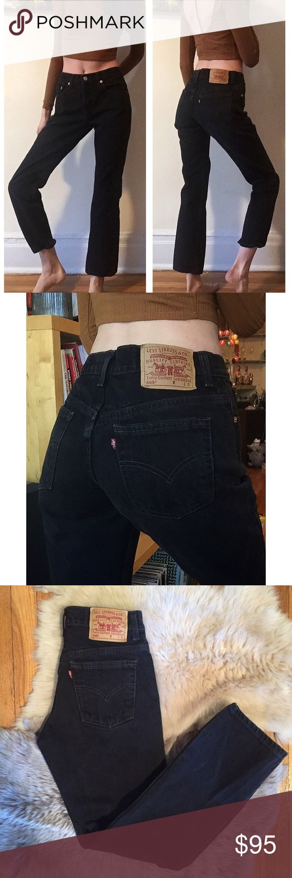 """Vintage 505 Black Levi's 28 Amazing and GORGEOUS black vintage 505 Levi's! 28"""" waist, 10"""" rise, 29"""" inseam! Great quality denim and these actually hug your butt! These are in beautiful vintage condition with no holes! Upon purchase, I can cut off and fray the hem to any measurement if you'd like. Seriously BEAUTIFUL jeans!! Always cheaper on ♏️! Levi's Jeans"""