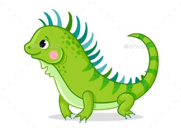 Iguana On A White Background Cartoon Styles Iguana Cute Paintings