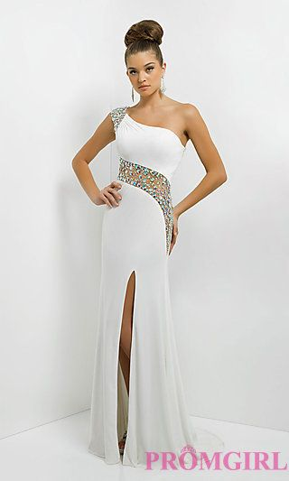 One Shoulder Gown with Sheer Beaded Back by Blush 9780 at PromGirl.com