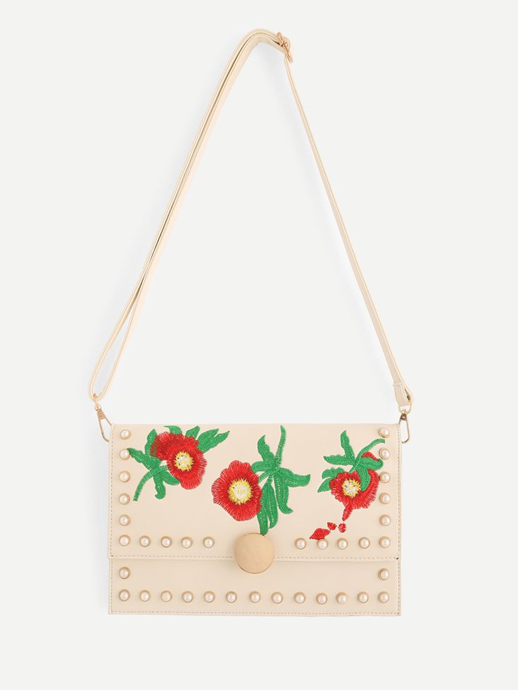 Shop Calico Embroidery PU Shoulder Bag With Faux Pearl online. SheIn offers Calico Embroidery PU Shoulder Bag With Faux Pearl & more to fit your fashionable needs.
