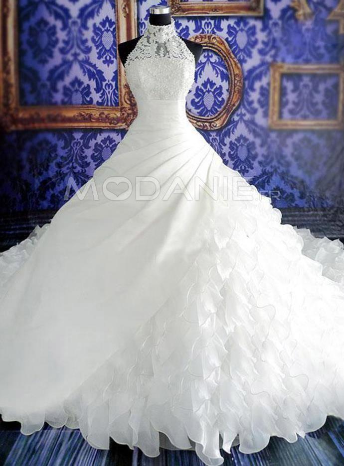 Princesse robe de mariée col haut sans manche organza sur mesure [#M1501197031] - modanie