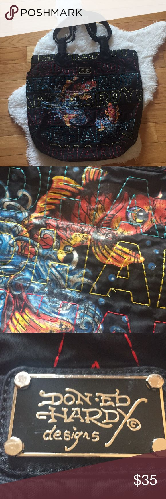 """Don Ed Hardy """"hobo"""" bag Coy fish design. Has been used but it is still in very good condition (only issue is a few stray threads) ❤️Reasonable offers welcome❤️ Don Ed Hardy Bags Hobos"""