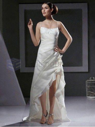 A-line Spaghetti Straps Asymmetrical Satin Lace Wedding Dress