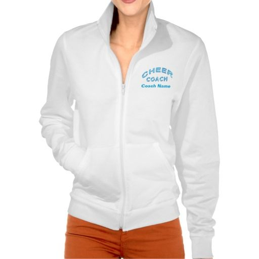 """Personalized Cheer Coach Jackets with 3 TEXT BOXES to type in your Coach's NAME, Short Message or whatever you wish. CLICK HERE to see More Cheerleader Gift Ideas: http://www.zazzle.com/littlelindapinda/gifts?cg=196183098675757826&rf=238147997806552929*  Turquoise Glassy Lettering """"Cheer Coach"""" with Text Boxes below. Choose another Color or a totally different style Cheer Coach Apparel with this same original design by Little Linda Pinda Designs. Cool Gift Ideas for Cheer Coaches."""