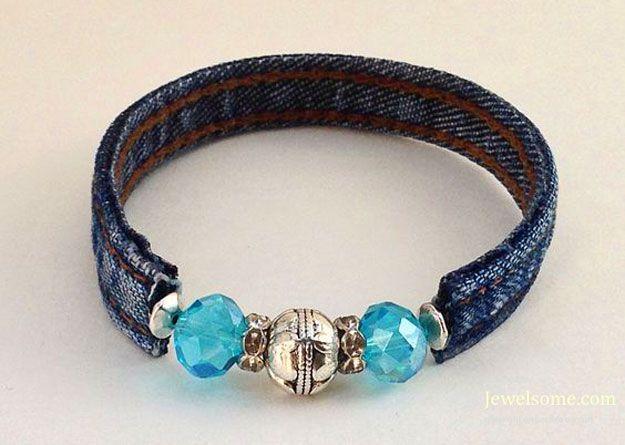 denim blue beaded bracelet
