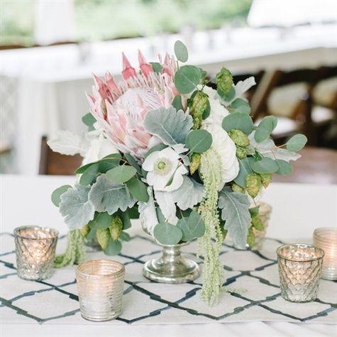 I like the size and eucalyptus; no protea; love the mercury glass candle holders