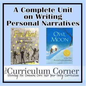 Personal Narrative Unit of Study FREE from The Curriculum Corner - includes lessons, mentor texts, graphic organizers & more!