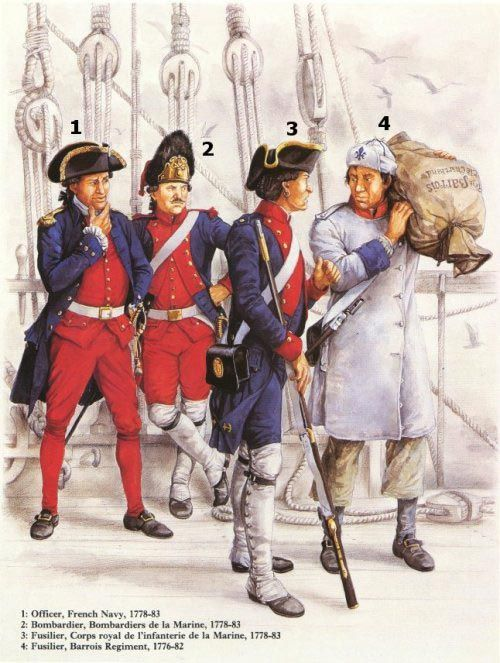 Uniforms of the French in the American Revolution 1 - Officer, French Navy, 1778-17832 - Bombardier, Bombardiers de la Marine, 1778-833 - Fusilier, Corps royal de l'infanterie de la Marine, 1778-834 - Fusilier, Barrois Regiment, 1776-82
