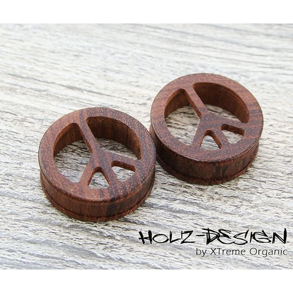10 - 70mm Pair wooden Peace Flesh Tunnel ear plugs gauge jewelry... (540 ZAR) ❤ liked on Polyvore featuring jewelry, earrings, plugs, handmade wood jewelry, earrings jewelry, wooden jewelry, peace sign earrings and peace earrings