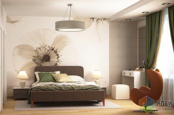 Современная спальня в светлых тонах, кресло в спальне, фотообои фреска на стене