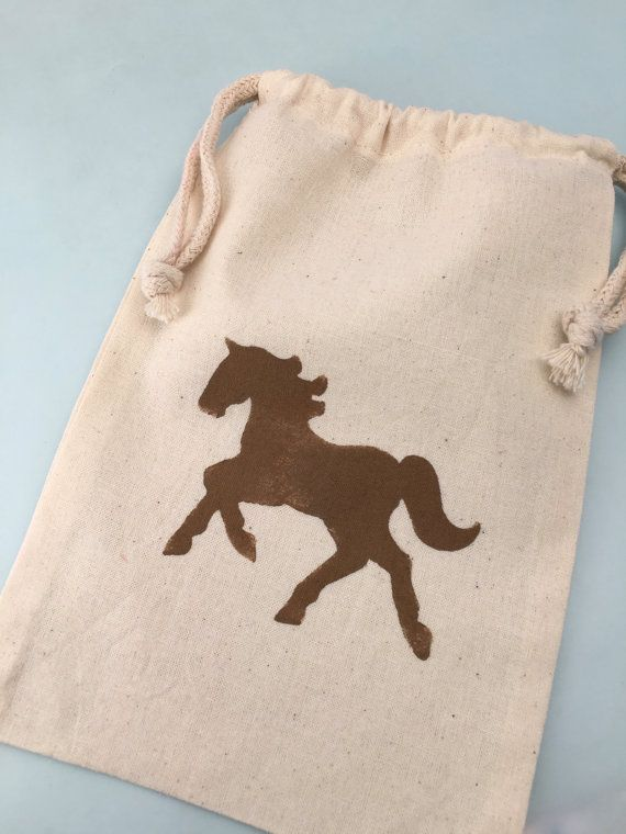 Horse Party Favor Bags with Hand Painted Horse design; Equestrian Party Favor Bag