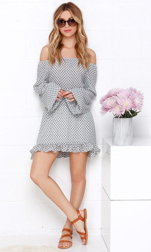 Spanish Apartment Black and Ivory Off-the-Shoulder Print Dress