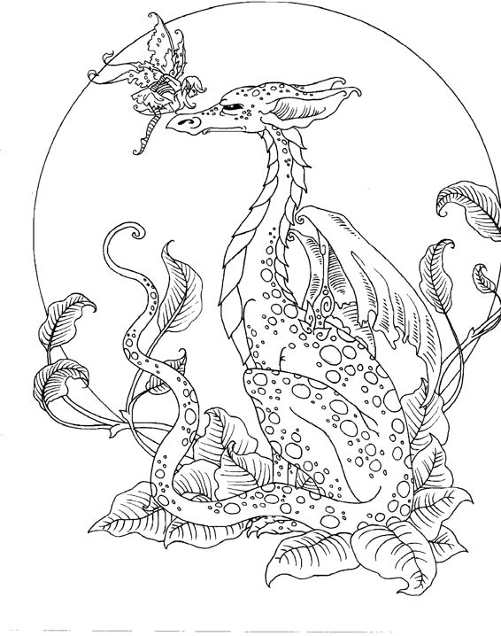 fairy and dragon coloring pages - photo#2