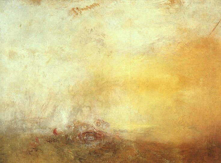 William Turner, SUNRISE WITH SEA MONSTERS, 1845, colore ad olio, 91.4 cm × 121.9 cm, Tate Collection