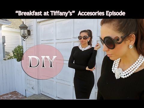 DIY -BREAKFAST AT TIFFANY'S Pearl Necklace & Earrings - Published on Oct 5, 2014 DIY -BREAKFAST AT TIFFANY'S Pearl Necklace & Earrings. Pearl Necklace replica and custom DIY earrings. Easy to make Statement Necklace great for holiday outfit ideas!  HELP ME GET THIS VIDEO TO 10,000 VIEWS:) Love all your comments and I am loving watching my channel grow.