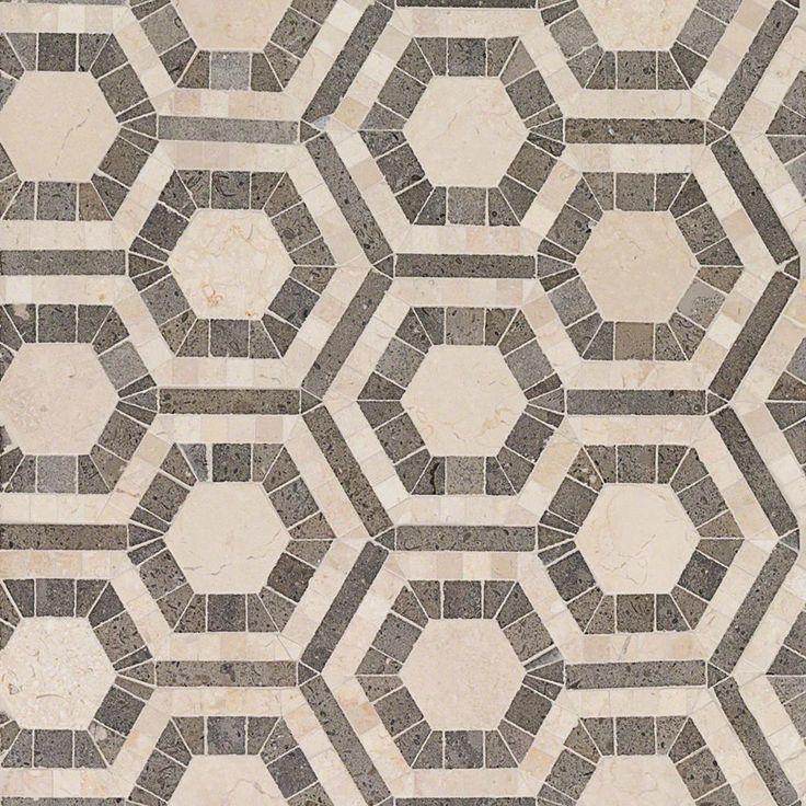 Ivy Hill Tile Kosmos Beige and Lagos Azul Hexagon 11-3/4 ...