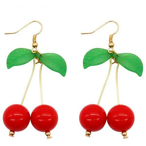 Drop earrings always make a statement, and these vibrant cherry earrings are no exception. Inspired by the bright elements of pin-up fashion, this pair is perfect for retro or vintage looks. Each piec