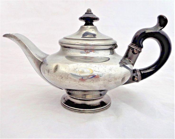 Antique Pewter Teapot Small Bachelor Squat Shape Wooden Handle & Knob c 1840