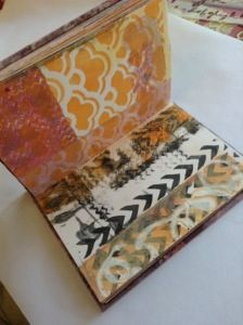 Gelli prints hand bound to make art journal pages