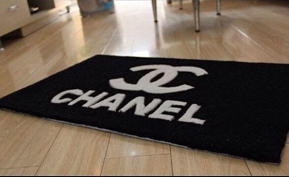 CC logo Inspired Rectangular Shape  Black & White Carpet Door Mat, Bedroom Rug, Bath Mat,  50x80cm