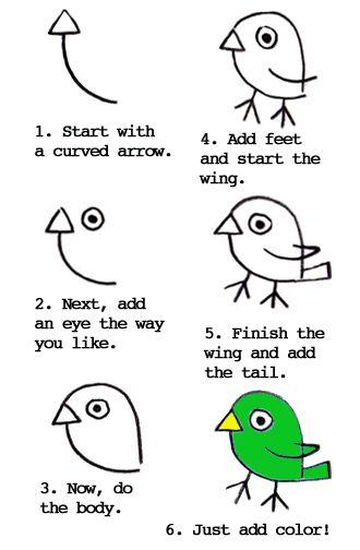 How to draw a cute little bird.