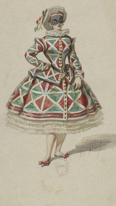 """Illustration by Alfred Albert(1814?-1879), 1863, """"La Maschera ou les nuits de Venise"""", Arlequine."""