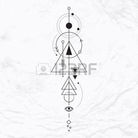 Vecteur g om trique symbole de l alchimie avec les yeux la lune les formes R sum occulte et signes m Banque d'images