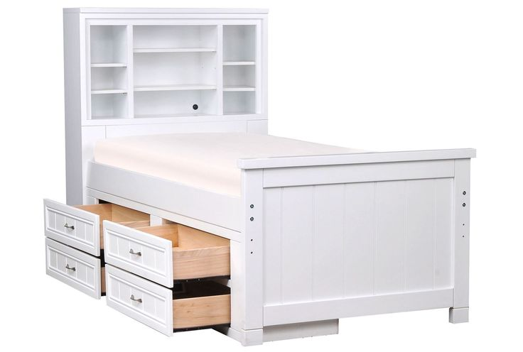 Kendall White Twin Bookcase Bed W/Single 4- Drawer
