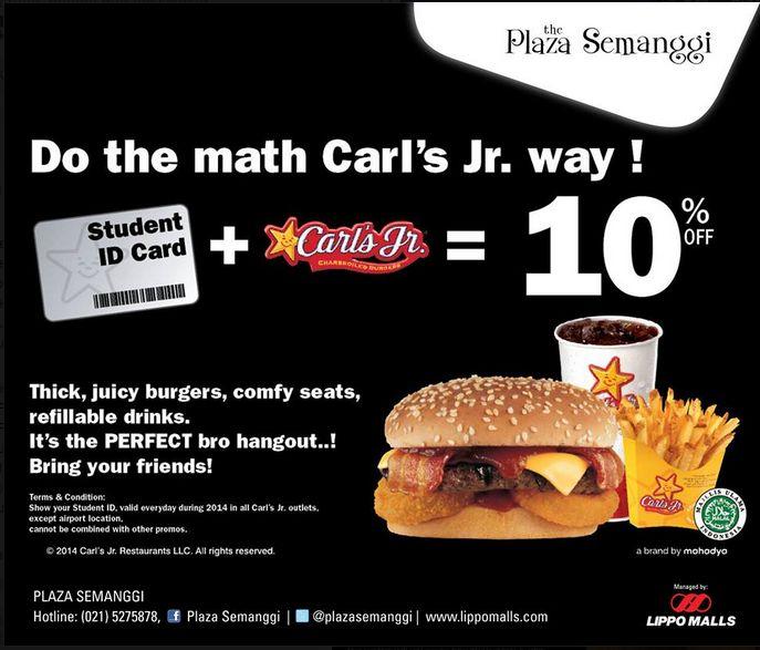 Dapatkan Diskon 10% Di Carl's Jr Plaza Semanggi