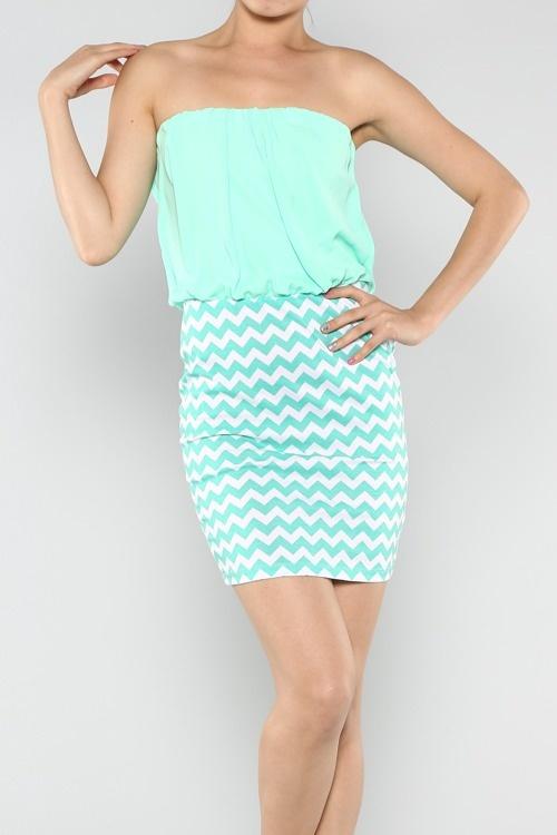 Solid & Missoni Tube Top Chiffon Dress ~ $38 Color: Mint Sizes: S, M, L Shop online www.aliandcoboutique.com