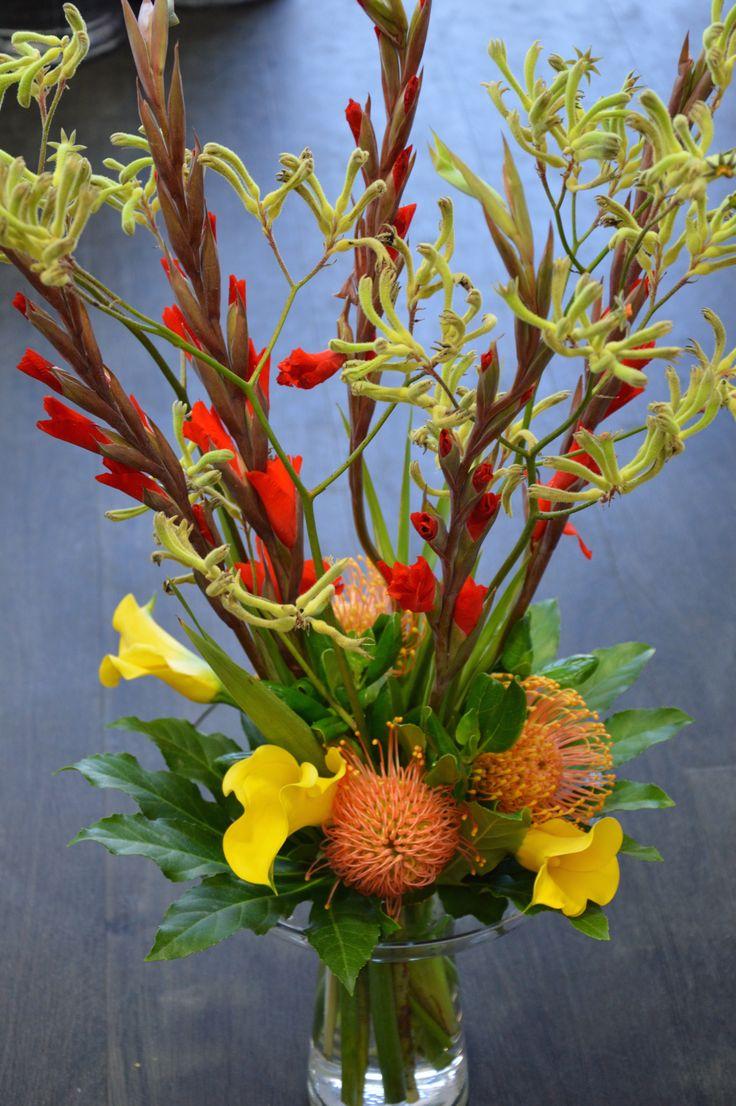 Kangaroo Paw , Yellow Calla Lilies, Orange Leucospernum & Red Gladiolas