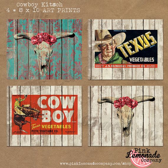 Cowboy Kitsch Western Funk Texas Instant Download Digital Art Print Four by Pinklemonadecompany Home Décor