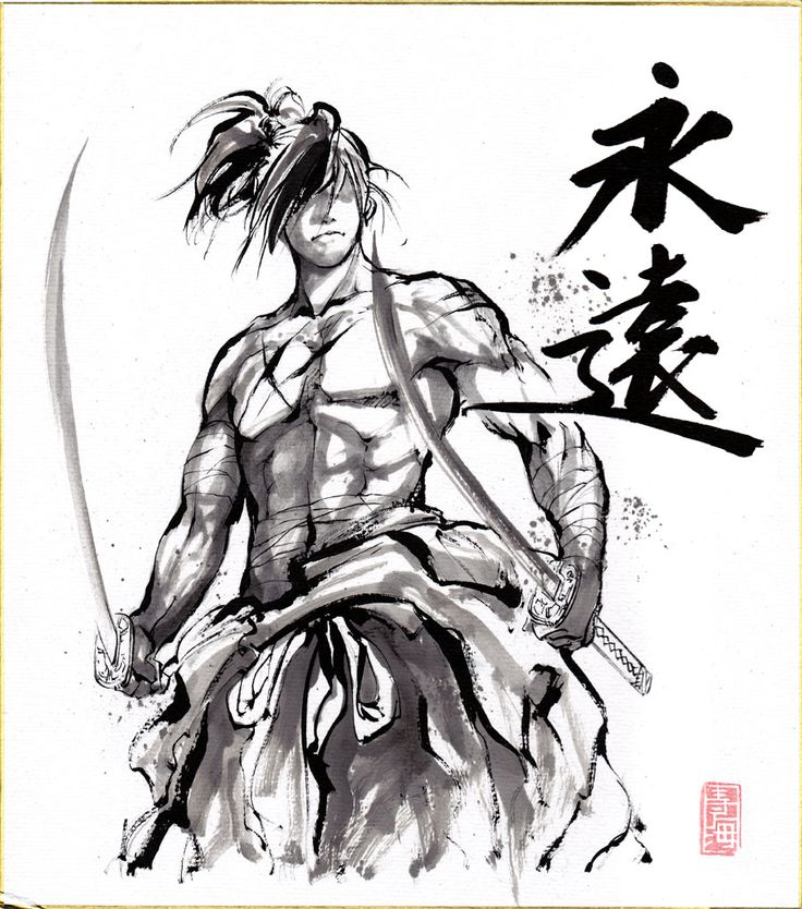 Samurai Sumie on Shikishi paper by MyCKs.deviantart.com on @deviantART