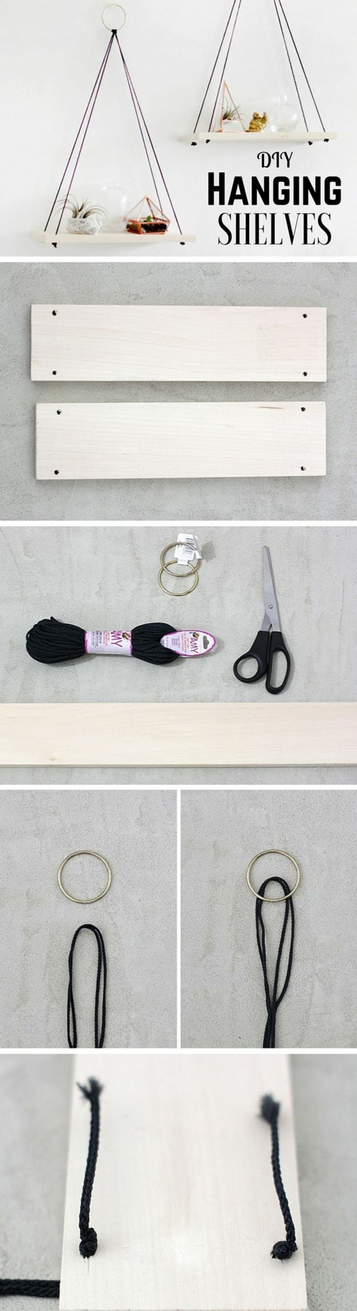 cool craft ideas hanging shelf, black yarn, scissors, wooden boards   – Room ideas