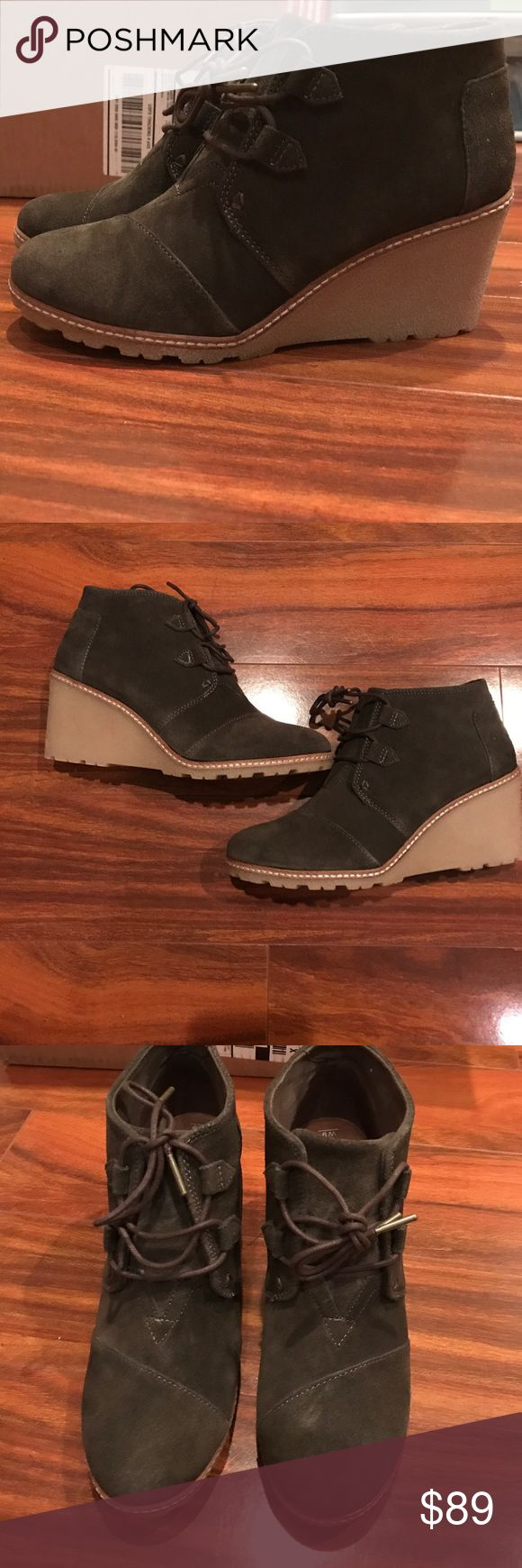 Toms Desert Wedge Brand new, never worn. Tarmac olive green suede wedge. TOMS Shoes Wedges