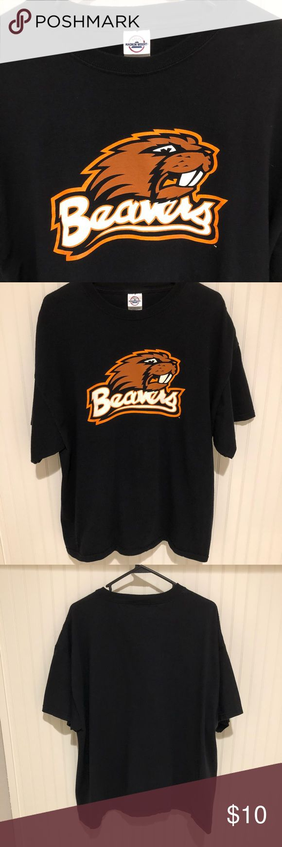 Oregon State Beavers Tee Oregon State University Black Tee with the Beaver logo in the front. 100% Preshrunk Cotton. Good used condition. Delta Magnum Weight Shirts Tees - Short Sleeve