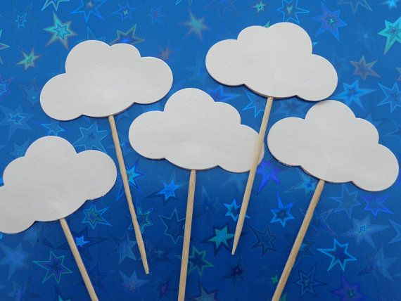 24 White Cloud Party Picks  Cupcake Toppers  by SewPrettyInVermont, $5.75