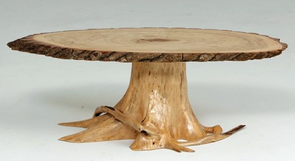 Rustic Log Furniture - Coffee Table with Solid Cedar Root Base - Item #CT03144