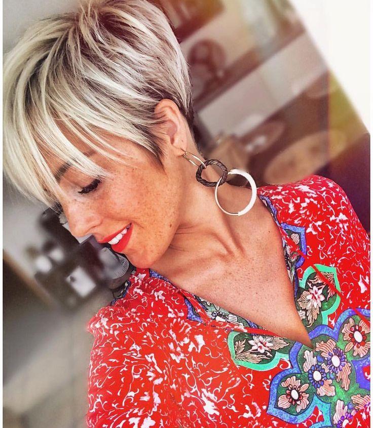 Bleached Pixie with Long Bangs.  #pixiecut #pixies #pixiehair #hair #hairstyles #haircuts  #nicestyles #fashion #style #shorthairstyles #shorthair #bleach #bangs