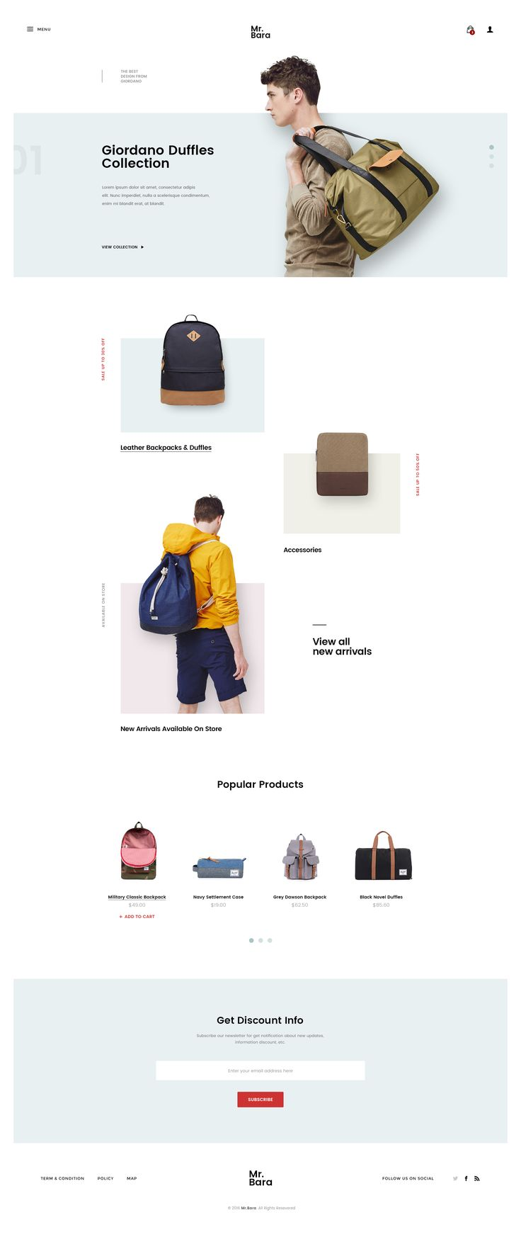 Backpack Store Site Concept by Logan Cee