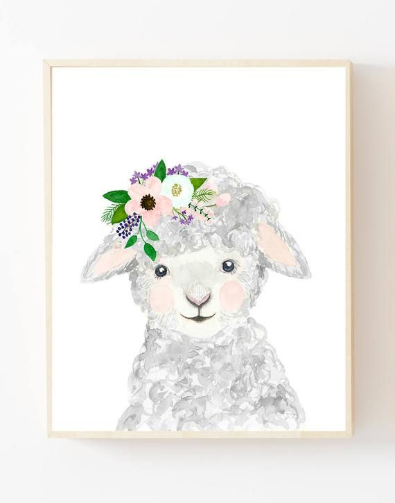 Watercolor Lamb In Grey Blush And Mint Aqua Color Woodland