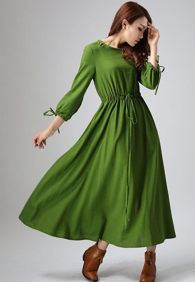 Maxi Dresses – elegant green maxi linen dress (806) – a unique product by yanhuayue on DaWanda