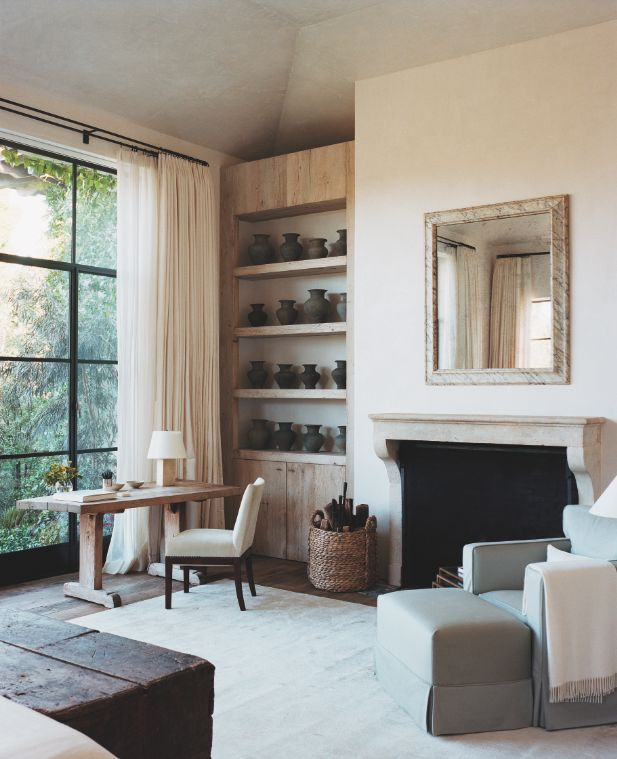 drapery | built-in | shelves | living | bedroom | fireplace | mirror | window | white walls | clean | rustic chic