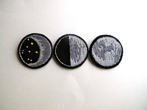 Moon brooches set of three crescent moon full by AnAstridEndeavor, $70.00                                                                                                                                                                                 More
